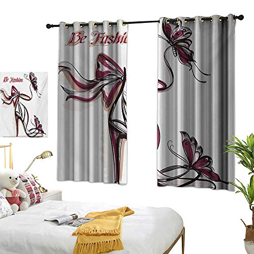 - LsWOW Bedroom Curtains W72 x L63 Pink,High Heel Shoes with Butterfly and Ribbon Ornamentals Be Grace Spruceness Theme,Dried Rose Black Blackout Window Curtain