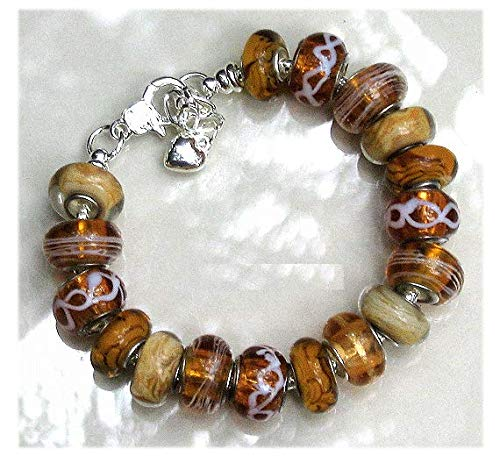 Amber Topaz Golden Murano Glass Bead Bracelet One Of Kind Jewelry Gift For ()