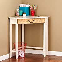 Southern Enterprises Panama Corner Desk 32 Wide, French Vanilla Finish and Water Hyacinth Accent