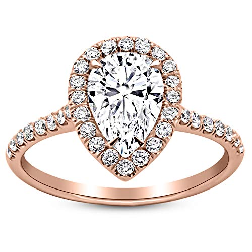 1.06 Carat GIA Certified 14K Rose Gold Halo Pear Cut Diamond Engagement Ring (0.56 Ct D-E Color VS2 Clarity Center)