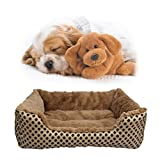 Pet Bed, SymbolLife Soft Washable Dog Cat Pet Warm Basket Bed Cushion with Fleece Lining Rectangle Pet Bed All Season All Weather Pet Bed Three Sizes to Fit Most Pets, XXL Gold