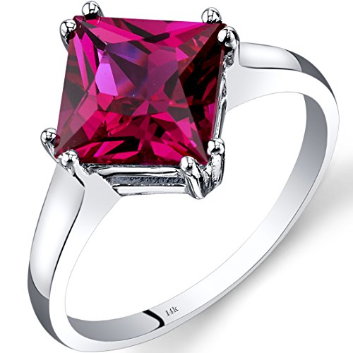 White Gold Princess Cut Ruby (14K White Gold Created Ruby Solitaire Ring 3.25 Carat Princess Cut)