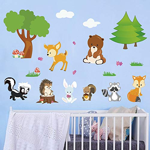 - decalmile Forest Animals Wall Stickers Fox Bear Deer Tree Wall Decals Baby Nursery Kids Room Wall Decor
