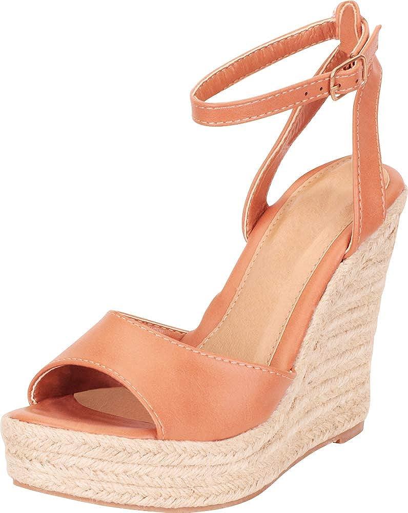Cognac Pu Cambridge Select Women's Ankle Strap Chunky Espadrille Platform High Wedge Sandal