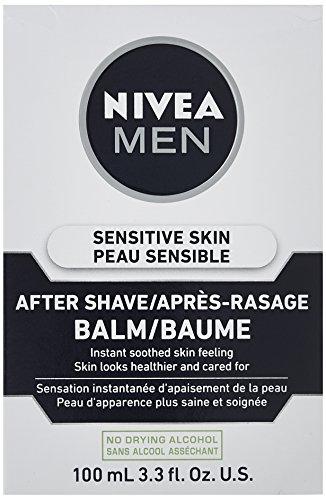 NIVEA FOR MEN Sensitive Post Shave Balm 3.30 oz (Pack of 4)