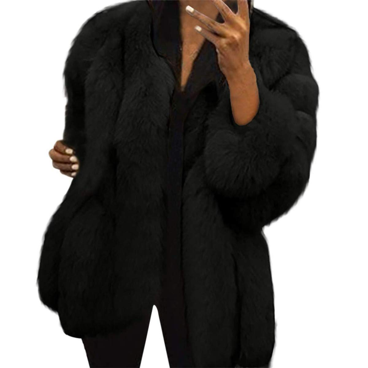 Black Slaoero Women Luxury Winter Warm Fluffy Faux Fur Short Coat Parka Plus Outwear