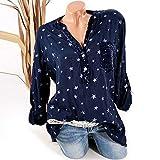 Farjing Women Fashion Plus Size Print Pockets Button Long Sleeve Shirt Tops Blouse(3XL,Navy)