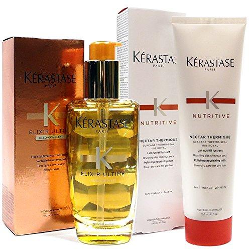 - Kerastase Nectar Thermique Glacage Thermo Seal 5.1oz and Elixir Ultime Oleo-Complexe Beautifying Oil 3.4oz set