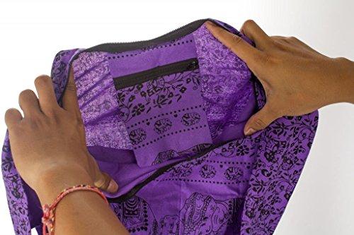 Elephant Cotton Crossbody Bag 2 Lofbaz Women's Buddhist Purple Boho Monk ntnI0q