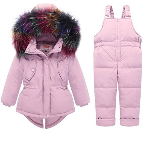 JELEUON Baby Girls Two Piece Winter Warm Hooded Colorful Fur Trim Snowsuit Puffer Down Jacket with Snow Ski Bib Pants Outfits 6-12 Months