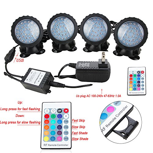Senzeal Pond Lights RGB Color IP68 Waterproof 36 LED Spot Light with Remote Control for Garden Pond Fountain Lighting by Senzeal (Image #1)