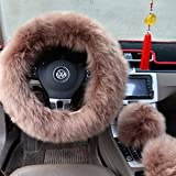 """Ogrmar Winter Warm Faux Wool Steering Wheel Cover with Handbrake Cover & Gear Shift Cover for 14.96"""" X 14.96"""" Steeling Wheel in Diameter 1 Set 3 Pcs (Cameo Brown)"""
