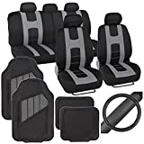 PolyCloth Sport Seat Covers Rubber Floor Mats & Steering Wheel Cover for Auto Car SUV Truck - Two Tone Black & Gray