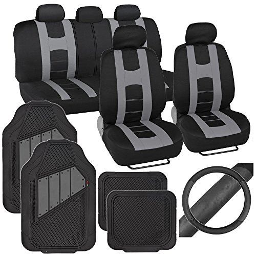 PolyCloth Sport Seat Covers Rubber Floor Mats & Steering Wheel Cover for Auto Car SUV Truck - Two Tone Black & Gray (2004 Chevy Malibu Wheel Covers compare prices)