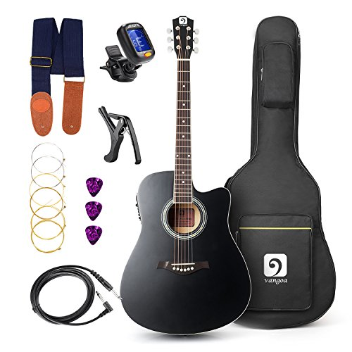 Vangoa - 41 inch Full-Size Black VG-41ECBK Acoustic Electric Cutaway Guitar with Guitar Gig Bag, Strap, Tuner, String, Picks, Capo - String Cutaway 5 Bass
