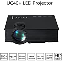 Projector UNIC UC40+ 800LM 800 x 480 Pixels Mini Portable LCD Projector HDMI Home Theater Simplified Micro Projector For Home Business Portable High Definition Multimedia Projector(Black)
