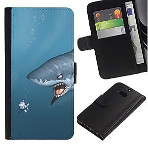 iKiki Tech / Cartera Funda Carcasa - Shark & Fish - Funny - HTC One M8