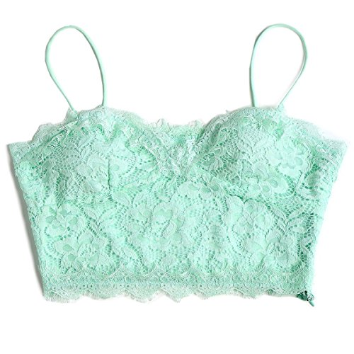 Womens Sexy Black Lace Sleeveless Bustier Crop Top Cami Camisole V Neck Tank Top Casual T Shirt Vest Bralette Lingerie (M, Mint Green)