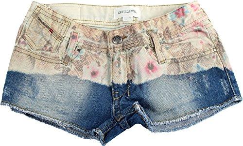 Diesel Big Girls' Matic Denim Short with Floral Print, Indigo, 16 Years by Diesel