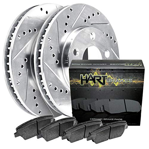 Front Platinum Hart Drilled Slotted Brake Rotors and Brake Pads -