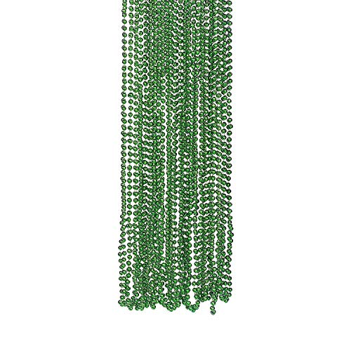Fun Express - Green Metallic Beads Necklace 4dz - Jewelry - Mardi Gras Beads - Mot Round - 48 Pieces