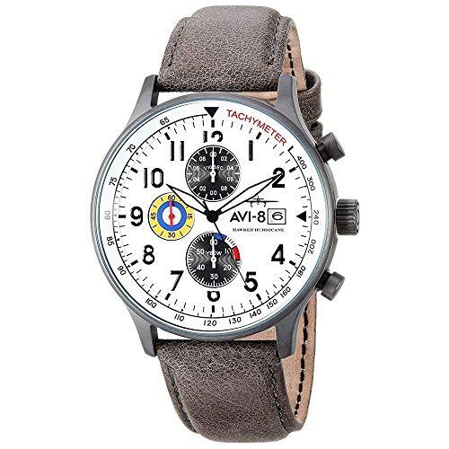 AVI-8 Men's AV-4011-01 'Hawker Hurricane' Stainless Steel Watch with Leather Band