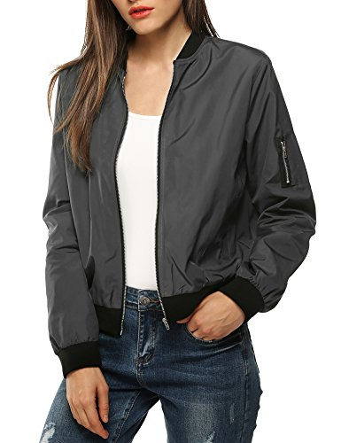 Zeagoo Womens Classic Quilted Jacket Short Bomber Jacket Coat, Grey, Medium ()