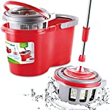 GreenBlue GB800 Easy Wring Kitchen Mop 1000rpm Telescoping Mop with Microfiber Cloth + Bucket by Greenblue