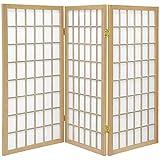 ORIENTAL FURNITURE 3 ft. Tall Window Pane Shoji Screen - Natural - 3 Panels