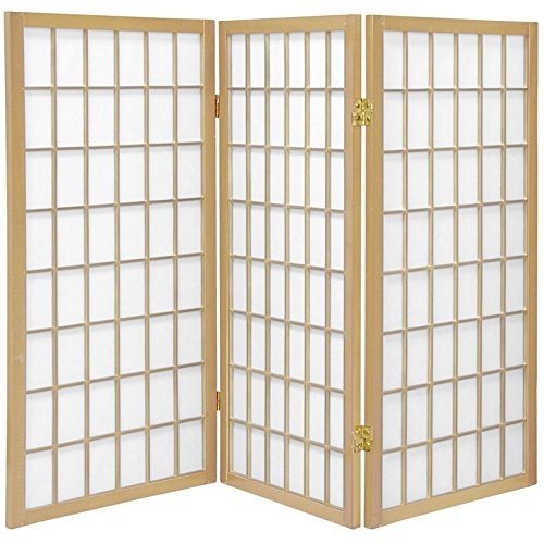 Oriental Furniture 3 ft. Tall Window Pane Shoji Screen - Natural - 3 Panels