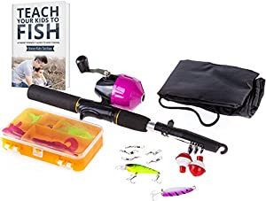 Kids Fishing Rod for Girls | All-in-One Combo Set | Pink Youth Fishing Kit Includes Collapsible Rod, Reel, Tackle Box, Travel Bag, and eBook | Perfect Kids Fishing Pole Gift Kit by PrimeGO