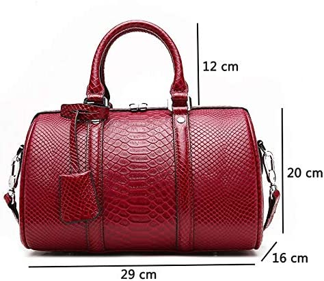 GDSZN New Barrel Shaped Women Handbag Genuine Leather Shoulder Leather Tote Bag Casual Ladies Leisure Crossbody Hand Bags Litchi pattern-Red