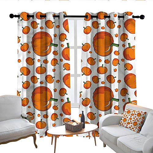Lewis Coleridge Thermal Insulated Blackout Curtain Pumpkin,Halloween Festival Symbol,Blackout Draperies for Bedroom Living Room 100