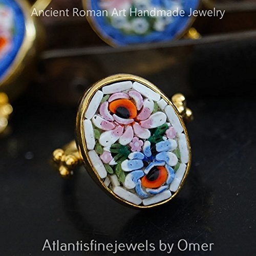 (OMER ONE OF A KIND GENUINE VENETIAN MICRO MOSAIC RING 24K GOLD OVER 925K SILVER)