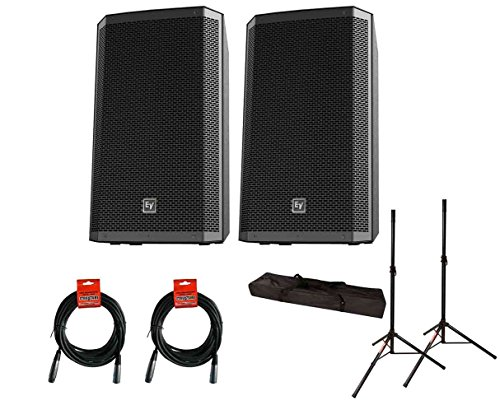 2x EV Electro-Voice ZLX-15P Active Speaker ZLX15P + Stands w/ Bag + Cables