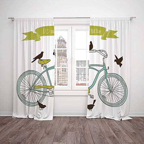 Thermal Insulated Blackout Window Curtain,Bicycle,I Love My Bike Concept with Birds on the Seat Cruisers Basic Vehicle Simplistic Art,Green Blue,Living Room Bedroom Kitchen Cafe Window Drapes 2 Panel