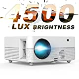 Video Projector - 4500Lux Brightness Hompow Movie Projector, Native 720P, 50,000 Hours Led, Compatible W/ TV Stick/ HDMI/ VGA/ USB/Box/ Laptop/DVD/ PS4 for Home Theater, Game