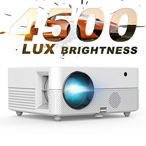 Video Projector – 4500Lux Brightness Hompow Movie Projector, Full HD 1080P Supported 50,000 Hours Led, Compatible W/TV Stick/HDMI/VGA/USB/Box/Laptop/DVD/ PS4 for Home Theater, Game
