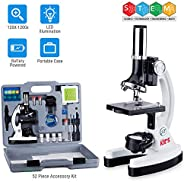 AmScope 120X-1200X 52-pcs Kids Beginner Microscope STEM Kit with Metal Body Microscope, Plastic Slides, LED Light and Carryi
