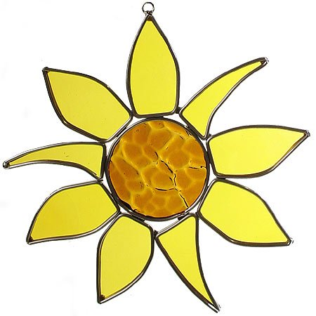 American Made Sunflower Art Glass Sun Catcher by Modern Artisans