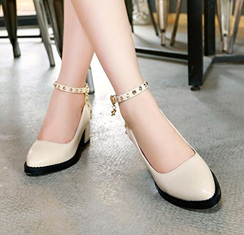 Strap Heel Ankle Rivet Toe Solid Chunky Sexy Pumps Pendant Mid CHFSO Beige Womens Buckle Pointed qt8zxf7w