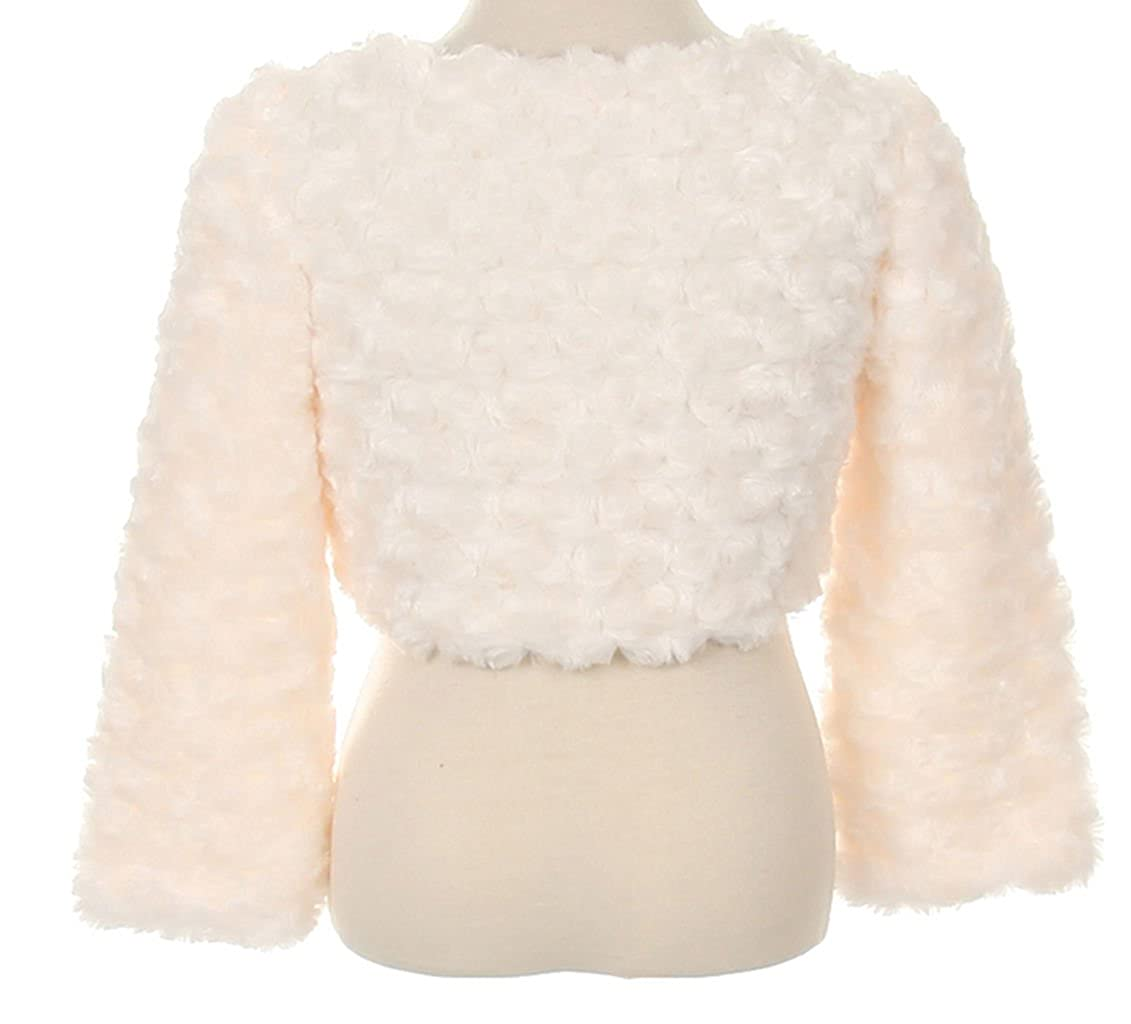 Fur Bolero Jacket with Pearl Button Ivory Size 6