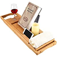 Langria Bamboo Bathtub Caddy Tray with Extending Sides Mug/Wineglass/Smartphone Holder