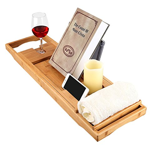 LANGRIA Bamboo Bathtub Caddy Tray with Extending Sides Mug/Wineglass/Smartphone Holder, Metal Frame Book/Pad/Tablet Holder with Waterproof Cloth Detachable Sliding Tray Non-Slip Rubber Base - Wine Accessory Valet