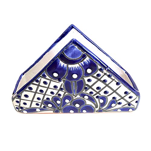 Talavera Napkin Holder - Hand Painted Authentic Mexican Pottery - Ceramic Blue and White Servilletero Azul Blanco