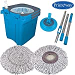 Primeway® Rotating Spin Anti-Microbial Disc Twin Bucket Mop with 2 Advanced Microfibre Mop Heads, Blue, 6 LTR.
