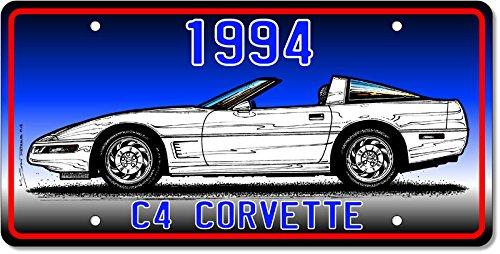 1994 C4 Corvette Coupe License Plate Art - Blue (Magazine Corvette Vette Car)