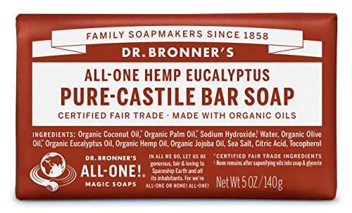 Eucalyptus Bar (Dr. Bronner's Magic Soaps Pure-Castile Soap, All-One Hemp Eucalyptus, 5-Ounce Bars (Pack of)
