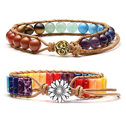 (Jovivi 2pcs Handmade Bohemian Boho Woven Leather Imperial Jasper Wrap 7 Chakra Yoga Beads Bracelets w/Sunflower Button Adjustable)
