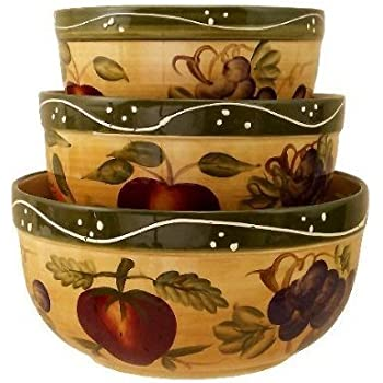 This Item KITCHEN BOWLS, MIXING BOWLS TUSCANY FRUIT DECOR